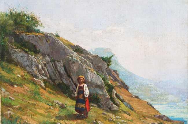 Antonio Maria Cotti Paesaggio montano con bambina in custume ultimo quarto XIX sec. low